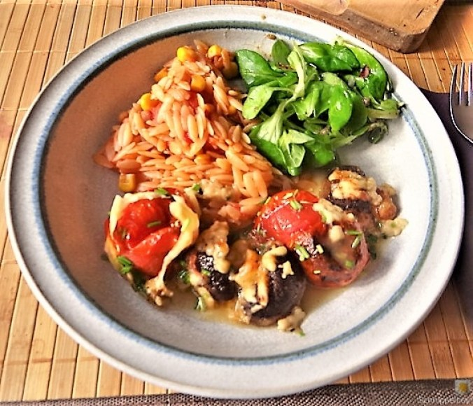 Campignon und Tomaten, Kritharaki (1)