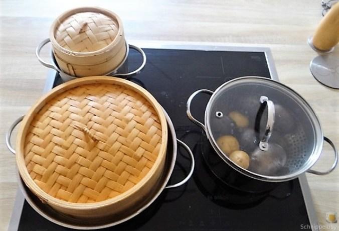 Gedämpftes Gemüse,Käsesauce, Blaue Kartoffeln (14)