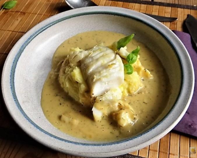 Kabeljau, Zitrus Senfsauce. Kartoffelstampf, Salate (21)