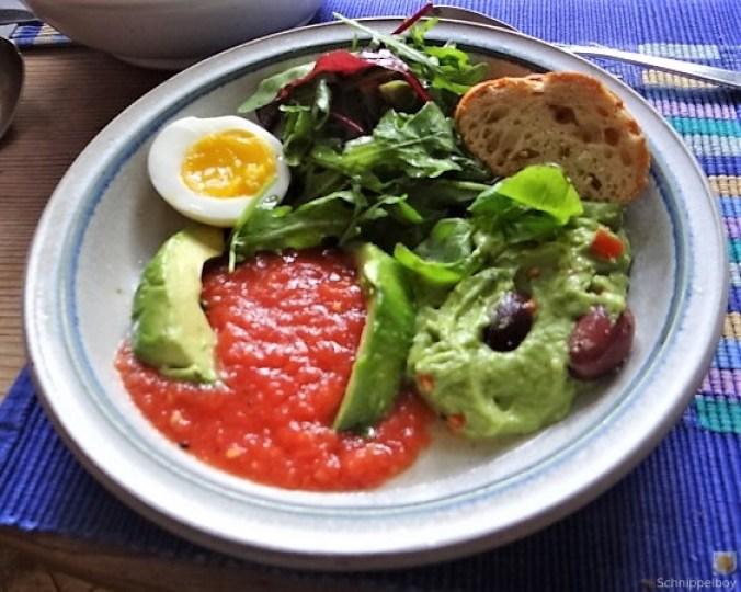 Tomatensalsa,Guacamole,Salat und Ei (2)