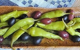 Gefüllte Weinblätter, Bohnensalat, Humus,. (44)