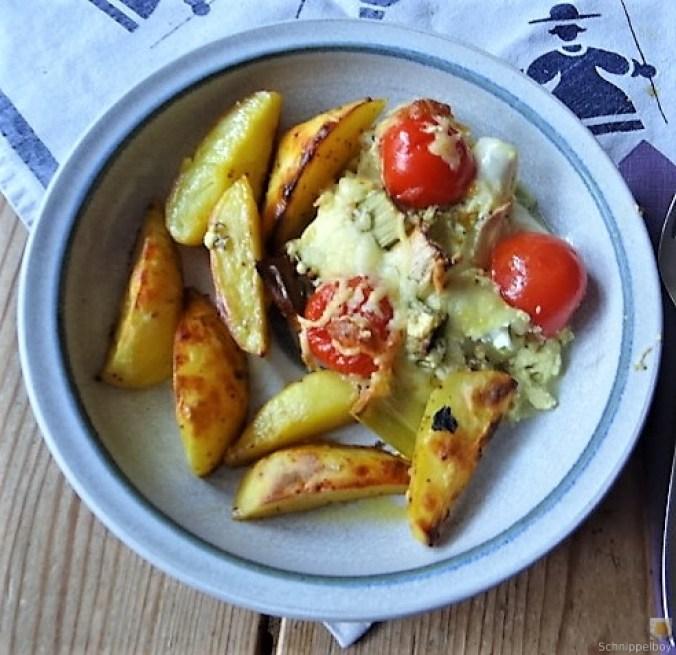 Lauchgratin und Kartoffelspalten (1)