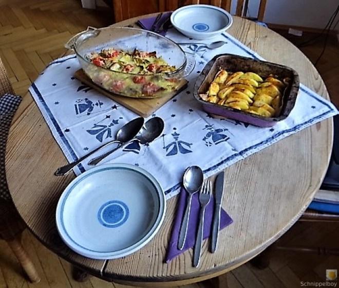 Lauchgratin und Kartoffelspalten (16)