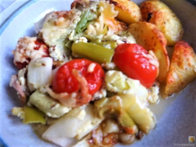 Lauchgratin und Kartoffelspalten (19)