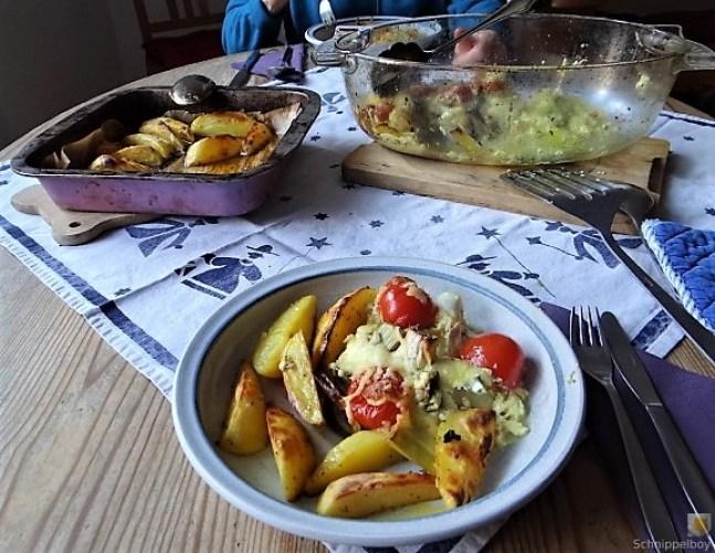Lauchgratin und Kartoffelspalten (4)