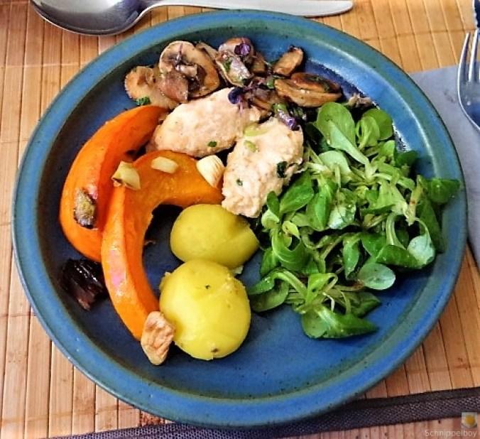Ricottanocken,Champignon,Salat,Kürbis (1)