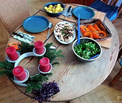 Ricottanocken,Champignon,Salat,Kürbis (5)