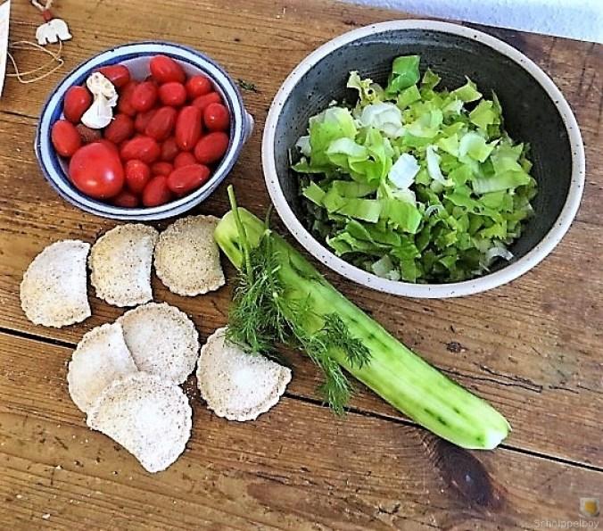 Teigtaschen,Tintenfischringe und Salat (8)