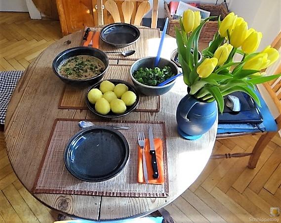 Klöße mit Pilzsauce,Obstsalat (7)