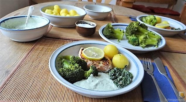 Lachs,Dip und Gemüse (4)