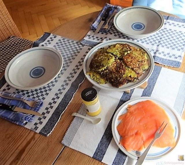 Zucchinipuffer,geräucherter Lachs (6)
