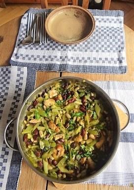 Bohnen-Bleichsellerie Pfanne und Putenschnitzel (22)