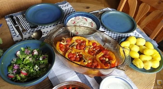 Gefüllte Paprika,Tzatziki,Bunter Salat (12)