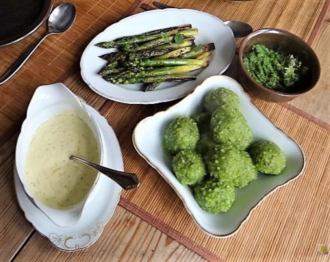 Grüne Klöße, Grüner Spargel, Zitronensauce (1)