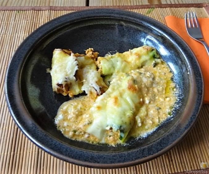 Zucchini und Kartoffelröllchen mit Fetacreme (3)