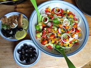Bratkartoffeln, Bunter Salat und Sardinen (17)