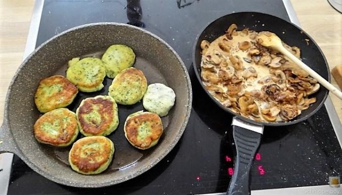 Kartoffel-Spinat Taler, Champignon, Tomaten-Avocado Salat (25)