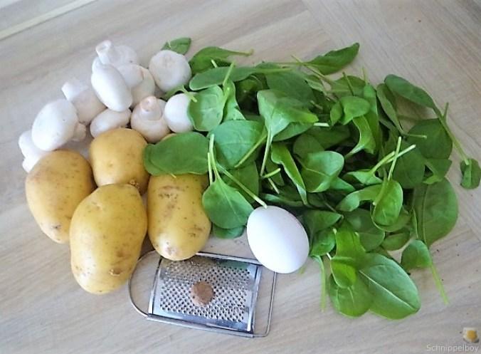 Kartoffel-Spinat Taler, Champignon, Tomaten-Avocado Salat (8)