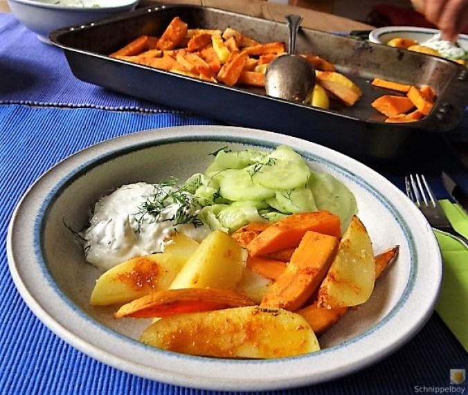 Kartoffelspalten, Meerrettichquark und Gurkensalat (15)
