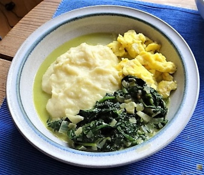 Pastinakenpüree mit Rahmspinat und Rührei (2)