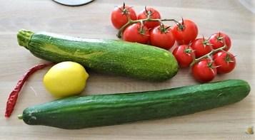 Zucchini-Tomatensalat und Tzatziki (8)