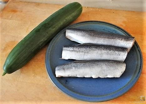 Grüner Hering, Kartoffelsalat, Gurkensalat (8)