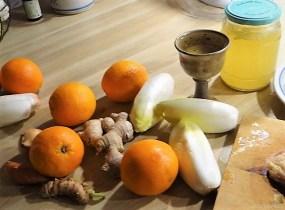 Entenbrust, Orangensauce, Klöße und Chicoree (9)