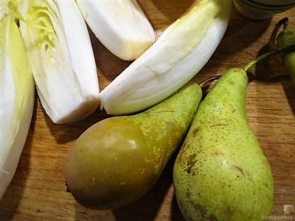 Chicoree, Birne, Gorgonzola und roter Reis (9)