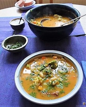 Gemüsesuppe und Joghurtspeise (14)