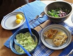 Kabeljau, Dillsoße, Salate und Kartoffeln (18)