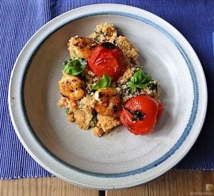 Couscous mit Babyspinat,Tomaten und Garnelen (17)