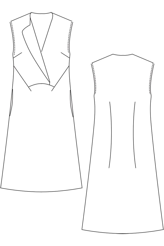 Schnittmuster Kleid Joy - technische Zeichnung Variante ohne Ärmel
