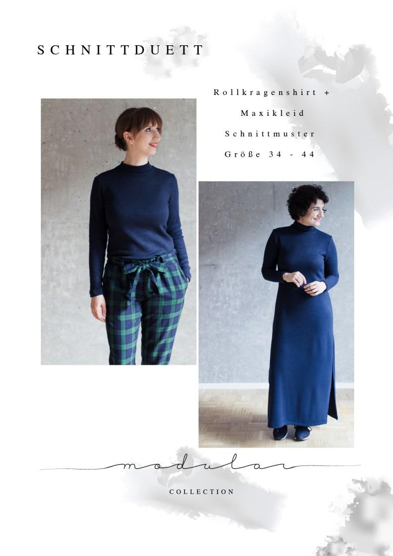 Schnittmuster Rollkragenshirt und Maxikleid Modular Collection - Schnittduett - Moderne Schnittmuster für Frauen, die minimalistische Mode lieben