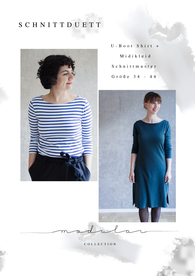 Nähanleitung Shirt nähen und Schnittmuster Shirt Damen mit U-Boot-Ausschnitt und Midikleid Modular Collection - Schnittduett - Moderne Schnittmuster für Frauen, die minimalistische Mode lieben