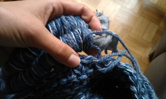 Sew roped cord to neck