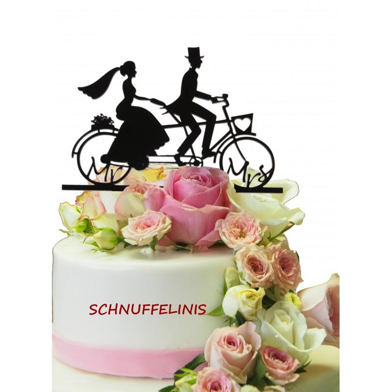 Radfahrer Hochzeitstorte cake topper Tandem
