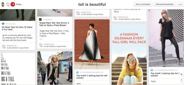 Pinnwand für Tall Girls. Die Pinnwand für große Mädels.