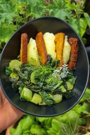 Gemüsemalve als gesottenes Gemüse mit Mandeltofu