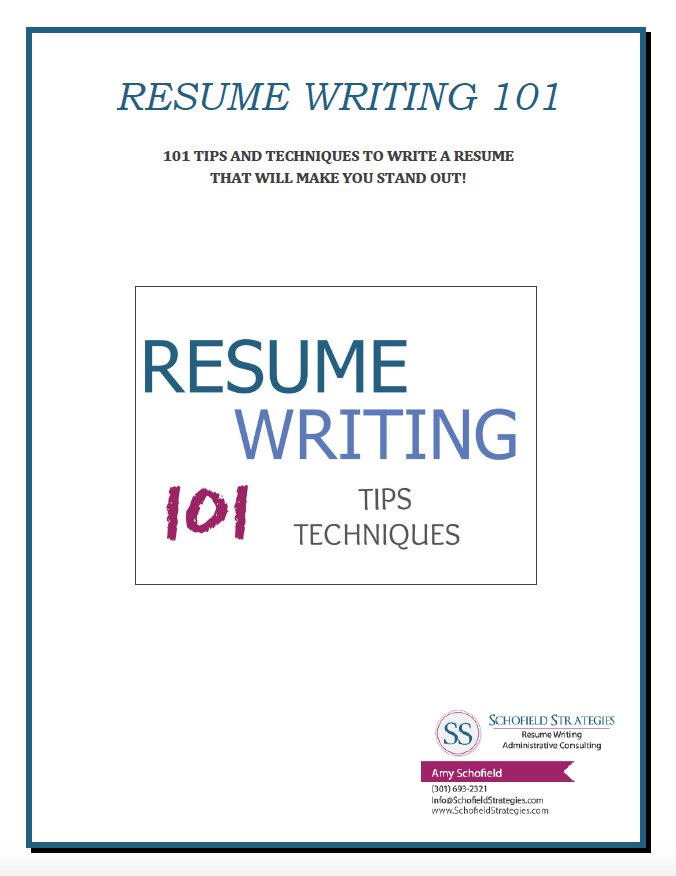 Resume Writing  101 Tips and Techniques  Schofield Strategies