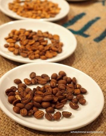 Verschiedene Phasen der Kaffeeröstung