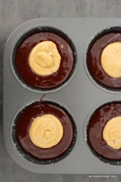 Teig für Schoko-Erdnussbutter-Muffins