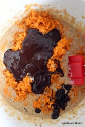 das wird ein Süßkartoffel-Schoko-Kuchen