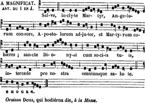Antienne de Magnificat des Ières vêpres de saint Denys