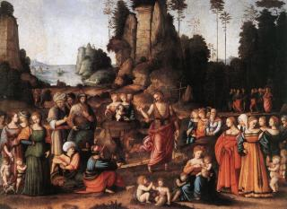 Vox clamans in deserto - Saint Jean Baptiste prêchant - tableau de Bacchiacca