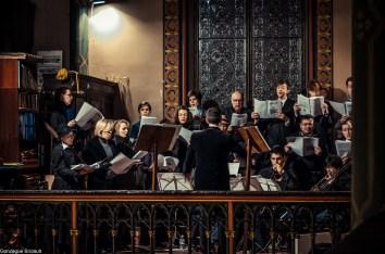 Requiem pour Louis XVI en 2014 - la Schola Sainte Cécile avec les sacqueboutiers