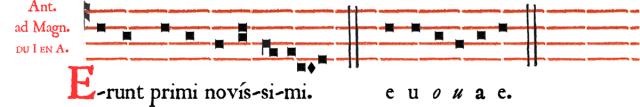 Rit parisien - Antienne de Magnificat Erunt primi novissimi - Ières vêpres du dimanche de la Sexagésime - intonation