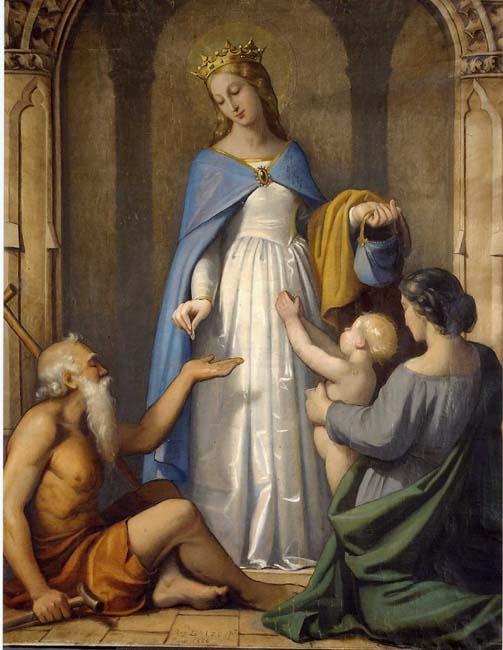 Raymond Balze (1818-1909) La Charité de sainte Elisabeth de Hongrie Huile ou détrempe sur toile - 125 x 105 cm Lyon, Musée des Beaux-Arts