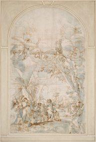 Projet de décor pour les Quarante-Heures avec le Retour des explorateurs du pays de Canaan par Giacinto Calandrucci