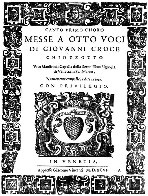 Frontispice de l'édition de 1596 des messes polychorales de Croce