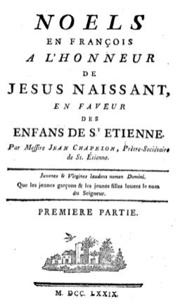 """Noël de Lully : frontispice de l'édition de 1779 des """"Noëls en françois a l'honneur de Jésus naissant, en faveur des enfants de Saint-Etienne""""."""